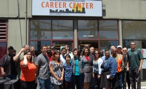 Supervisor London Breed with SCSF Exec Director Liz Jackson Simpson and Construction and Union Reps