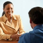 interviewing woman