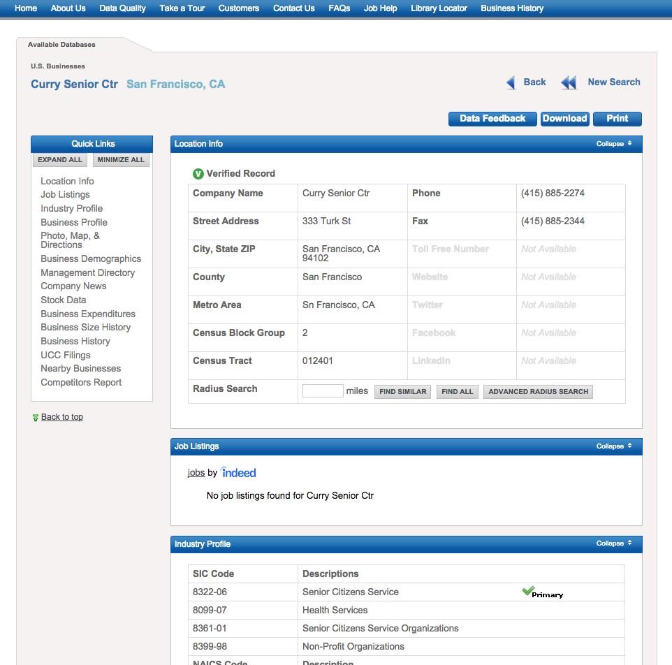 ReferenceUSA webpage