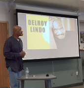 Delroy Lindo speaks with some of the students at Independence High School in SF.